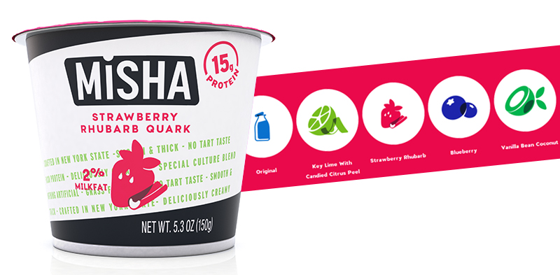 Packaging de Misha productos lácteos de origen americano