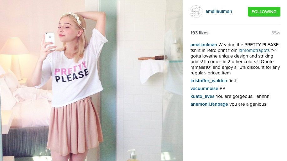 "Amalia Ulman, ""Pretty Please"" (Actualización de Instagram). 1 de junio de 2014"