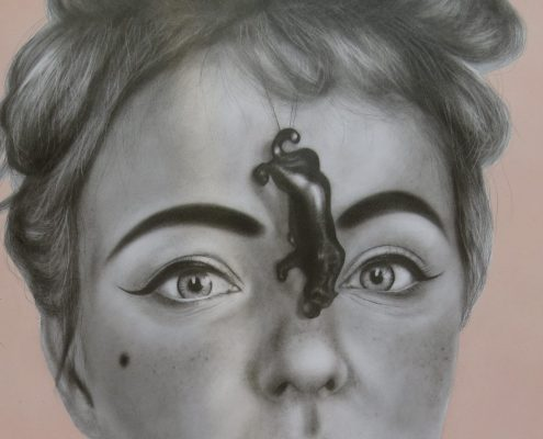 femme-felinae-de-la-serie-invisibilia-circus-50x70-lapiz-y-esmalte-sobre-papel-2015