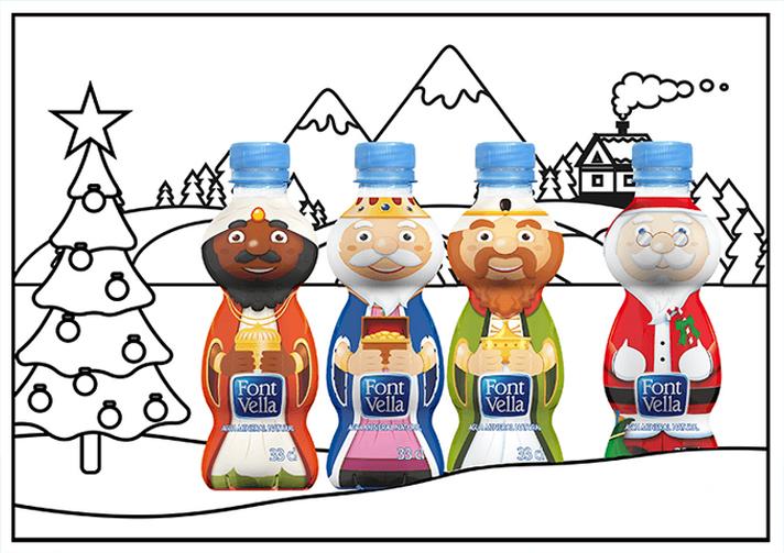 Packaging Reyes Magos y Papa Noél lindamente ilustrados en botellas de agua