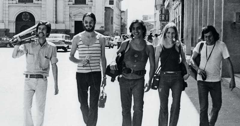 El Grupo de Cali, en el centro Luis Ospina y Carlos Mayolo. Fotografía: Revista Aracadia.