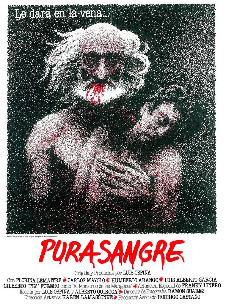 """Cartel película """"Pura Sangre"""" de Luis Ospina."""