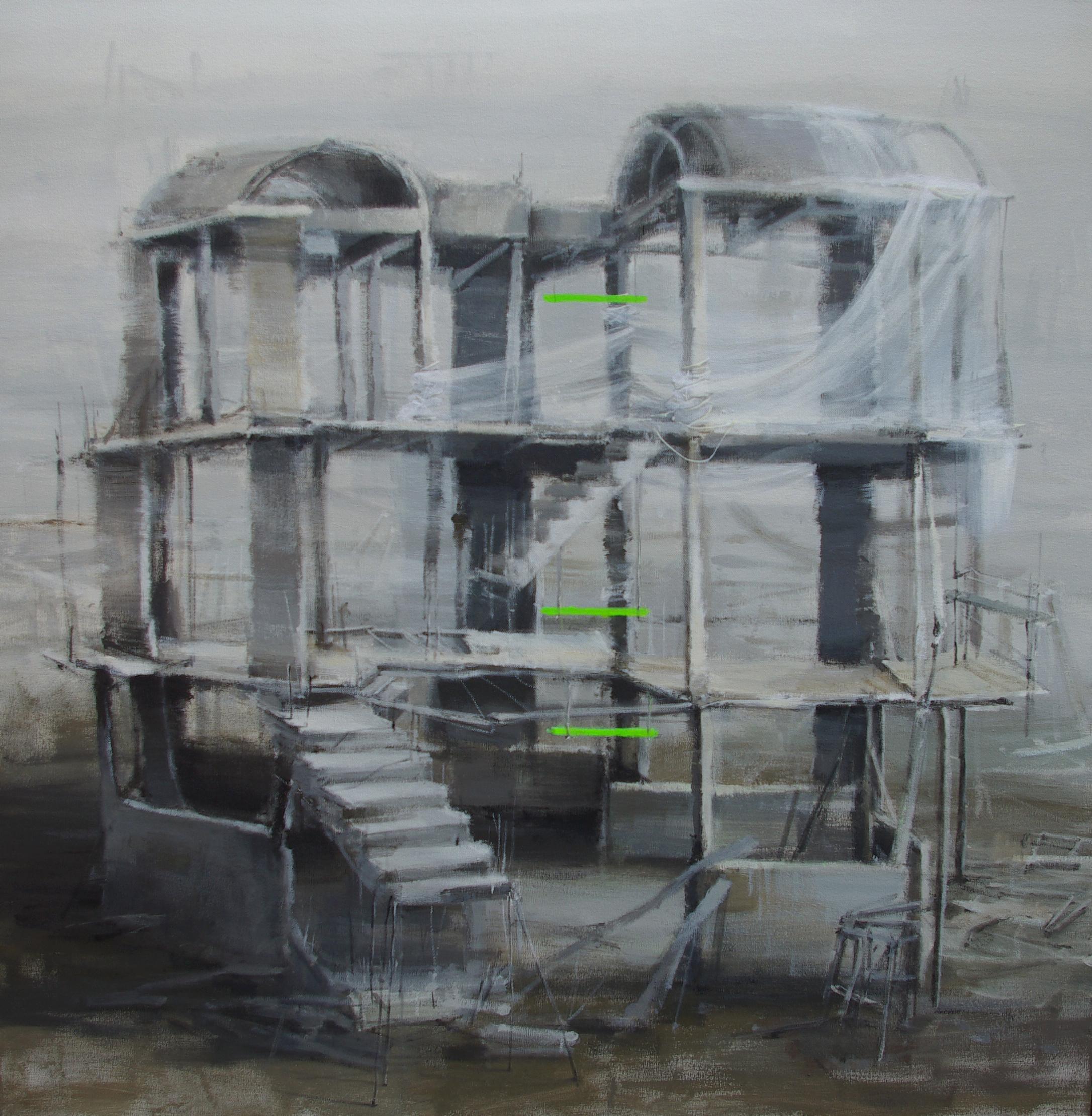 Leticia Gaspar García. Iluminados, 2016. Técnica mixta sobre lienzo, 100 x 100 cm.