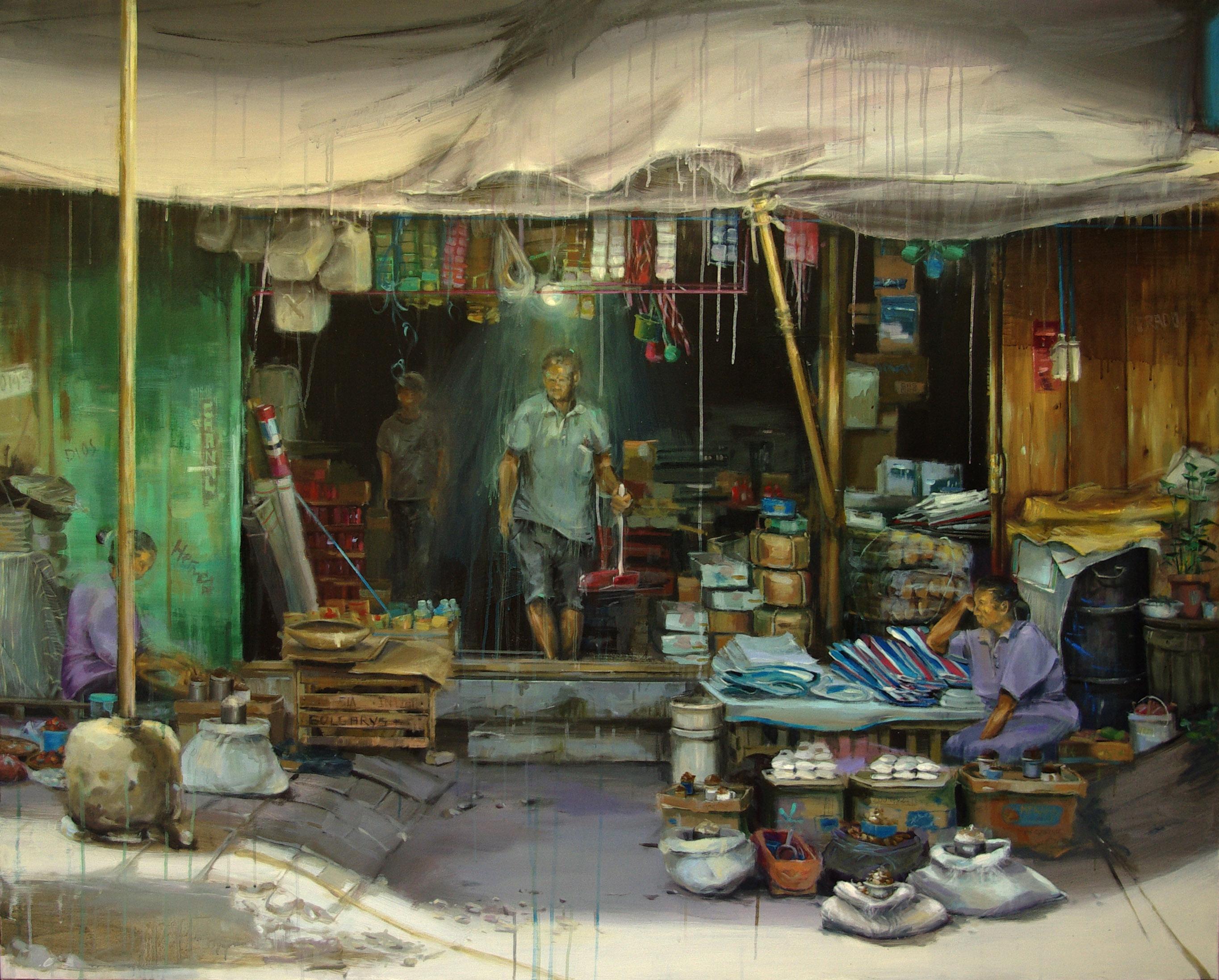 Leticia Gaspar. Bazaar. Técnica mixta, 162 x 130 cm