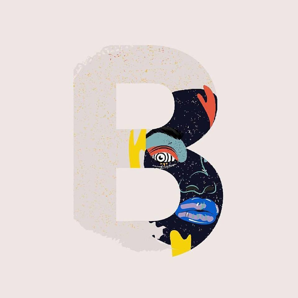 "36 Days of Type - ""B"" by @justynakieruzalska"