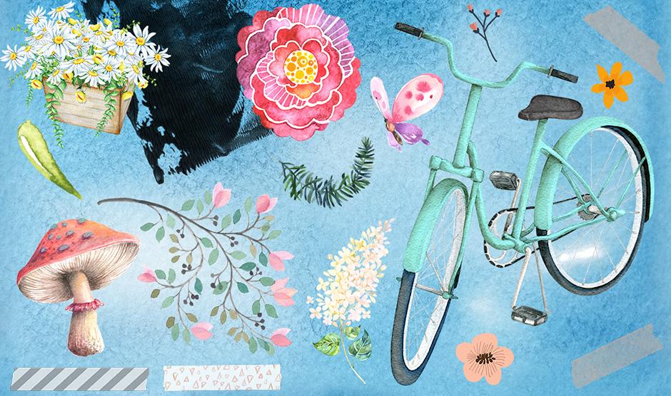 freebie recursos gratis ilustraciones acuarelas florales