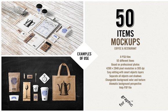 mock up recursos items objetos para presentación de imagen corporativa de Creative Market